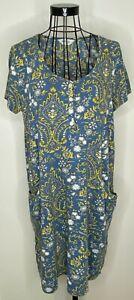 Nomads-Algodon-Azul-Amarillo-Floral-Vestido-Bluson-Tunica-Bolsillos-Boton-Talla-14