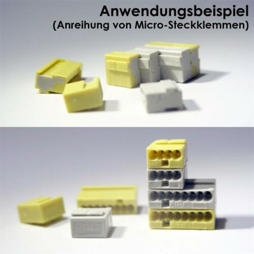 grau Verbindungsklemme Klemme 20 Stück WAGO Micro-Steckklemmen 4x 0,6-0,8 mm²