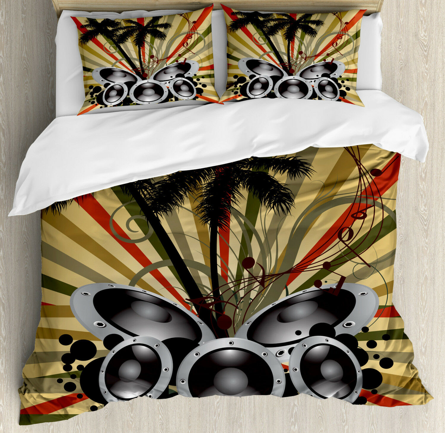 Modern Duvet Cover Set with Pillow Shams Palm Trees Music Party Print
