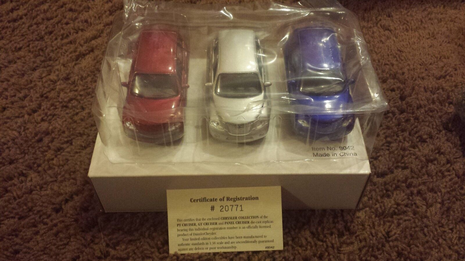 3 PT Cruisers 1 38th Scale w  Certificate of Registration