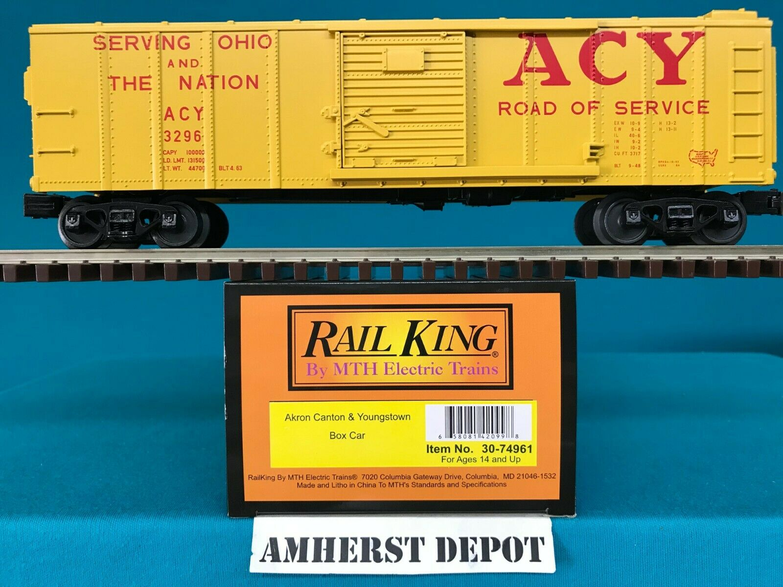 MTH Railking Box Car Akron Canton & Youngstown O O-27 Boxcar 30-74961