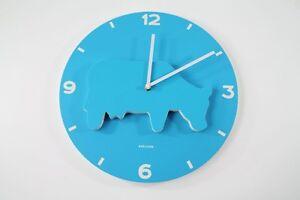 Karlsson-Horloge-murale-Animal-Farm-bleu-Vache-Claire-ka4646-bois-MDF-35cm