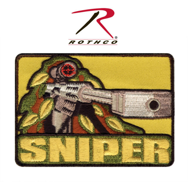 "New Rothco 72187 ""Sniper w/ 50 Cal."" Morale Patch w/ Hook Back 2-1/2"" X 3-1/2"""