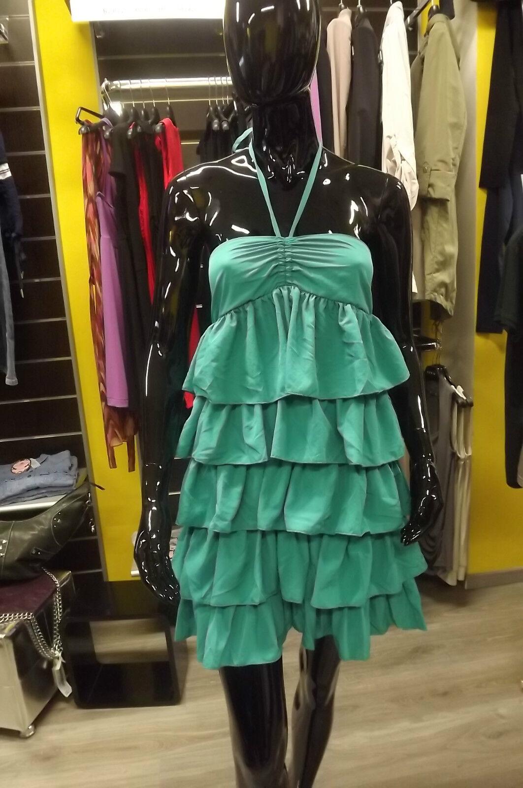 FORNARINA MINI DRESS FLOUNCES NADIA SIZE XS S EMERALD DRESS DRESS