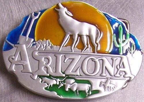 Metal Belt Buckle State of Arizona Grand Canyon Wolf NEW