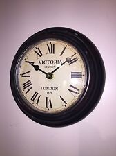 Metal Wall Clock Victoria LONDON Shabby Vintage Chic Small for Kitchen Hall Gift