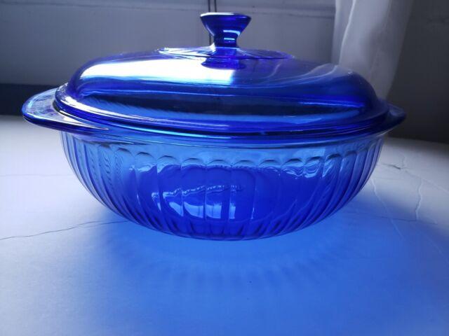 Vintage Cobalt Blue Ribbed Pyrex 2 Quart Casserole Dish w