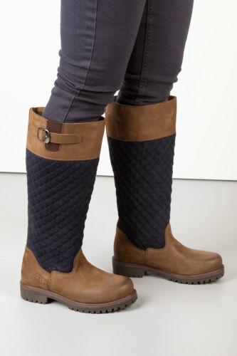 Stivali in Pelle Trapuntata tullymore Stivali Rydale donna scarpe calzature Equestre Navy