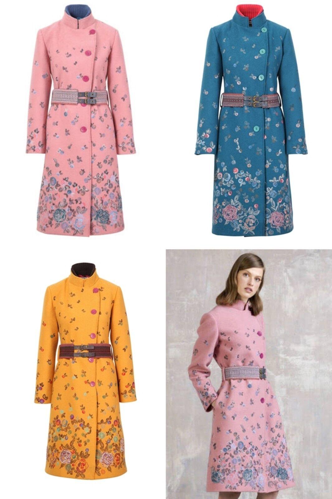 Ivko Woollen Coat Embroidered Mustard Powder Petrol Size 40 42 44 82501