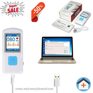 PM10-Tragbarer-EKG-Monitor-EKG-Geraet-1-77-034-Farb-LCD-eingebaute-Elektrode-NEW