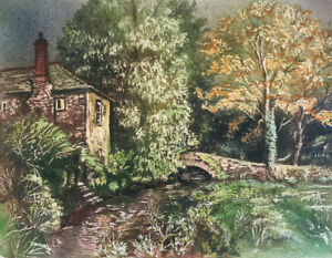 Thomas G. Hill, House on a River – Mid-20th-century watercolour painting