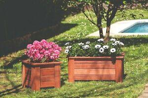Detalles De Jardinera Macetero De Madera Tropical Exterior O Interior Terraza O Jardín