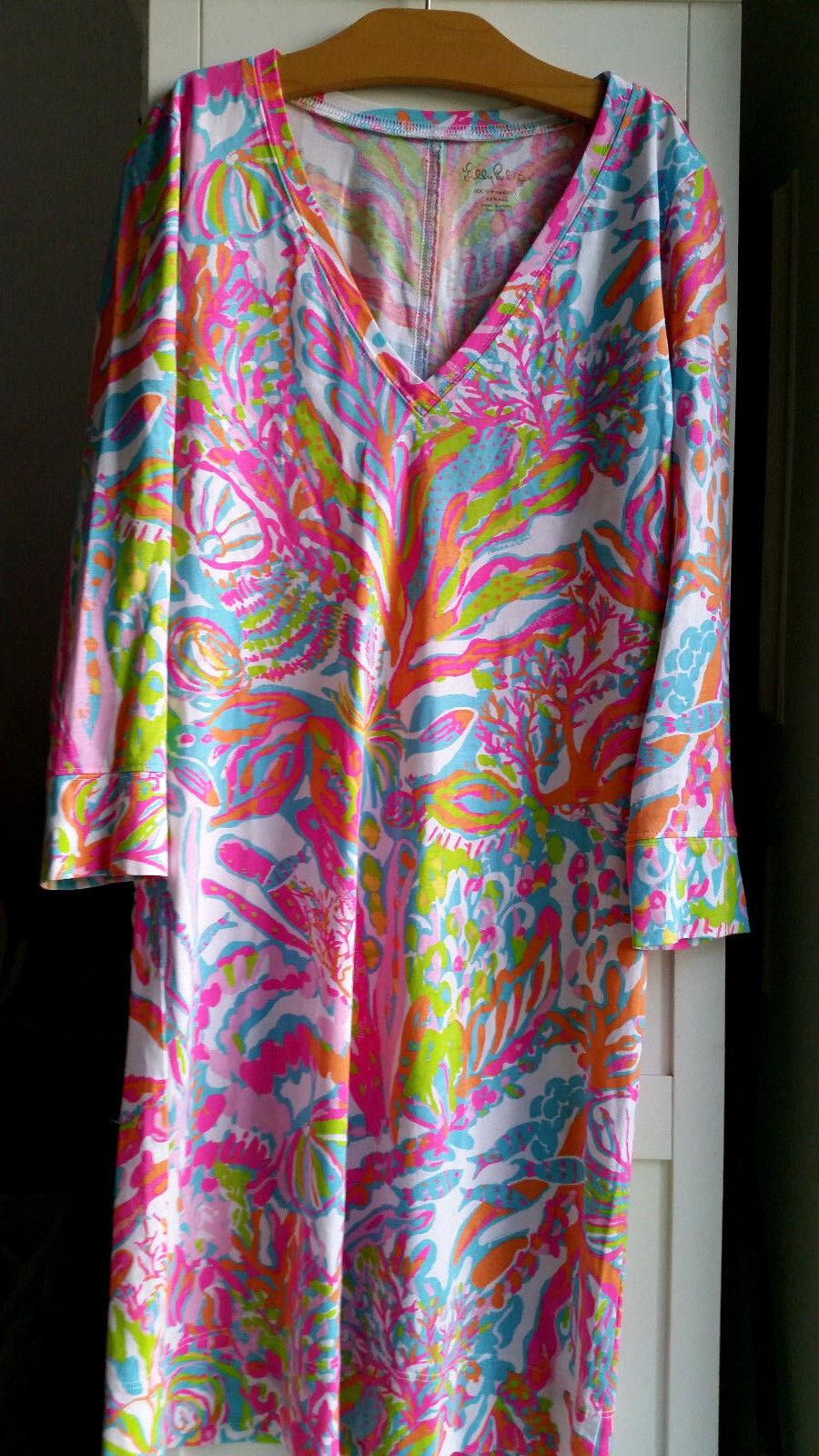 Lilly Pulitzer Christie V Neck Tee Dress Scuba to Cuba Größe XS 05028