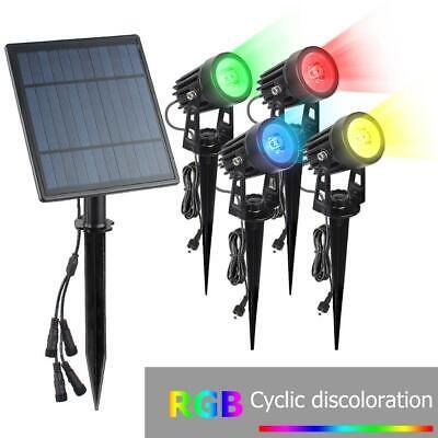 4x LEDS Solarleuchte Strahler Solarstrahler Gartenlampe Spot Licht Erd-Spieß DHL