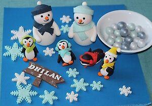 Image Is Loading Winter Wonderland Kit Cake Decoration Snowmen Penguins Baby