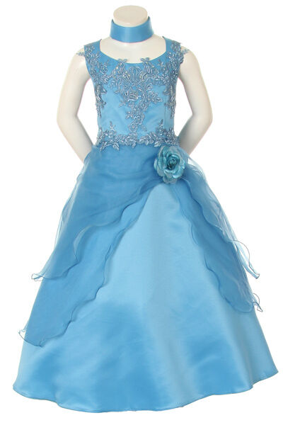 New little Girl Pageant Wedding Graduation Prom Party Formal Dress Blue size 4
