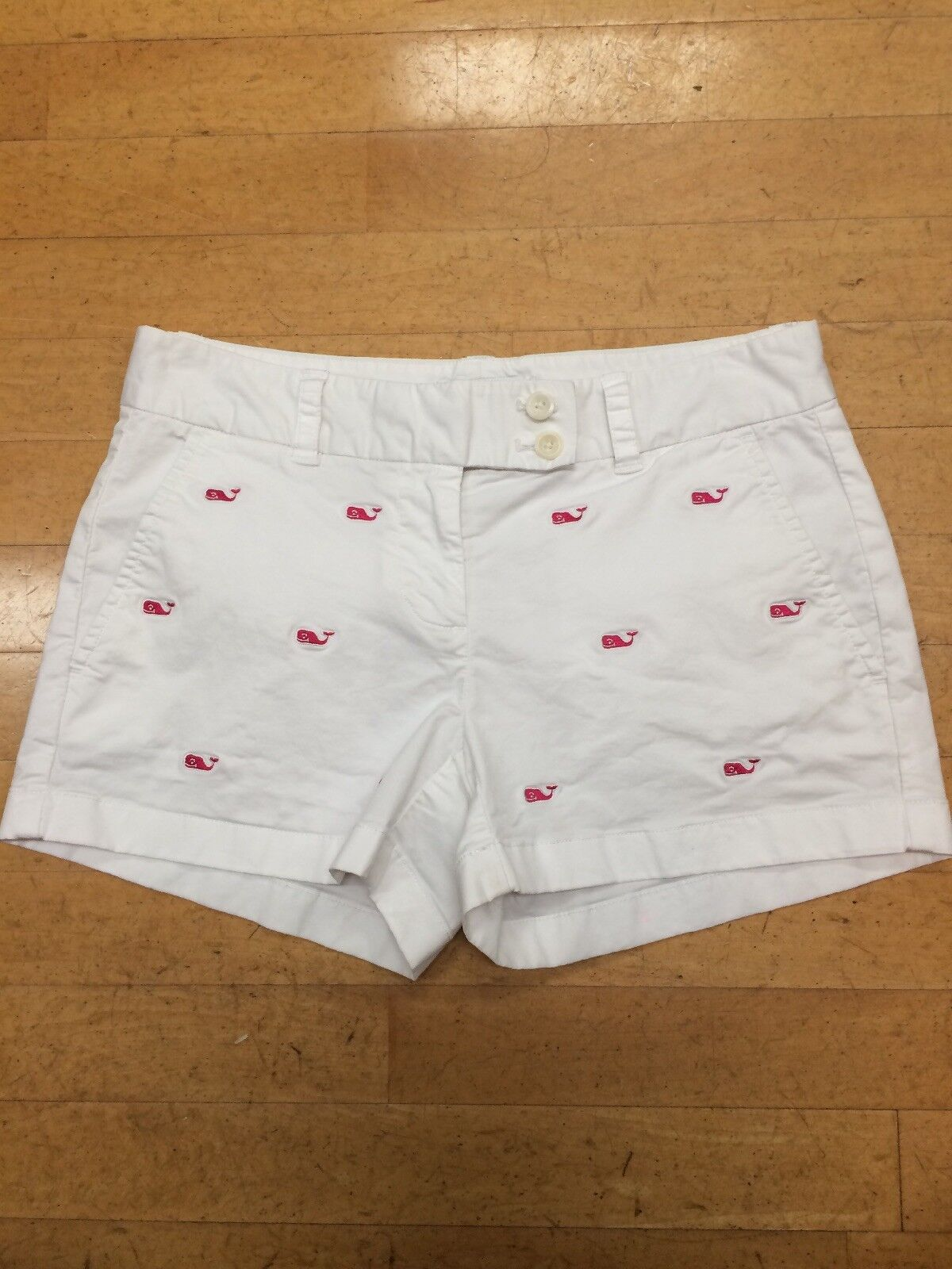 Vineyard Vines White Shorts With Pink Whales Size 0