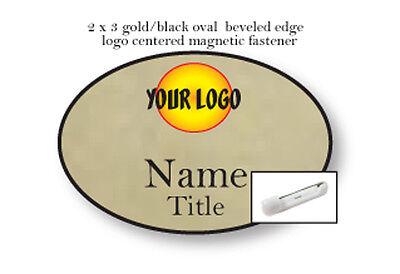 1 OVAL GOLD NAME BADGE FULL COLOR LOGO 2 LINES OF PRINT  MAGNETIC FASTENER
