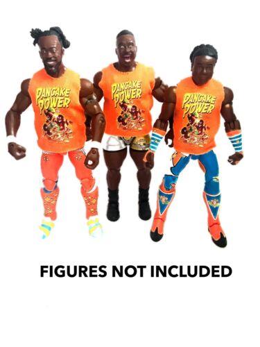 """WWE NUOVO giorno Kofi BIG E BOSCHI /""""Pancake POWER/"""" Camicia personalizzato per Mattel figure."""