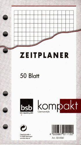bsb kompakt A6 Terminplaner Zusatzeinlage KARIERT Notizpapier 50 Blatt 02-0061