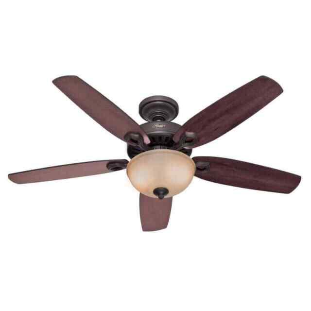 """Hunter Builder Deluxe 52"""" Indoor Ceiling Fan - 5 Reversible - Bronze"""