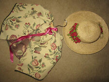 Victorian Dickens Edwardian theater costume straw hat/tapestry CAPE accessories