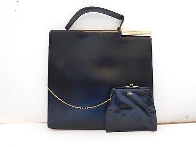 Koret~Vintage Black Calfskin Leather Kelly Handbag attached coin purse