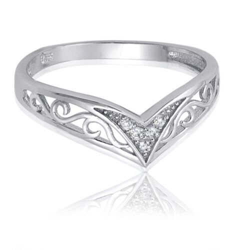 Filigree Swirl CZ Chevron Sterling Silver Bali Ring Sizes 4 12