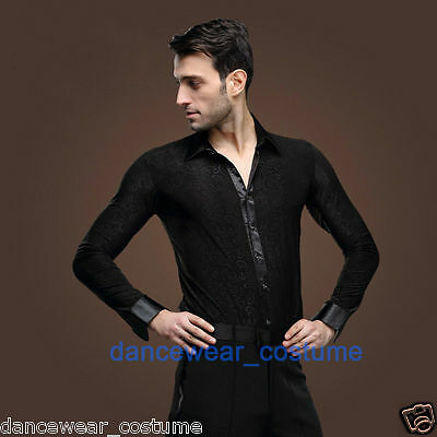 Mens Ballroom Latin Modern Tango Rhythm Salsa Competition Dance Dress Shirt Tops