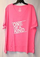 NEW WOMENS PLUS SIZE 4X 26W 28W BRIGHT PINK ONE OF A KIND V NECK TEE SHIRT TOP