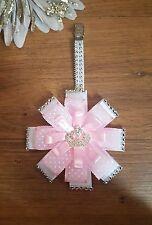 Impresionante punto rosa punto Corona Clip Diamante Bling Cochecito encanto