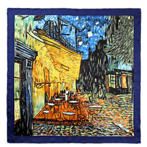 "Oblong 100/% Charmeuse Silk Scarf Oil Painting Van Gogh/'s /""Cafe Terrace at Night/"""