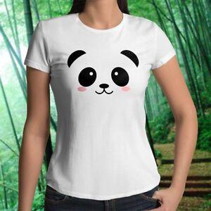 Cute-Panda-Adorable-KungFu-Funny-Eyes-Face-Womens-Juniors-Top-Tee-T-Shirt-Cotton