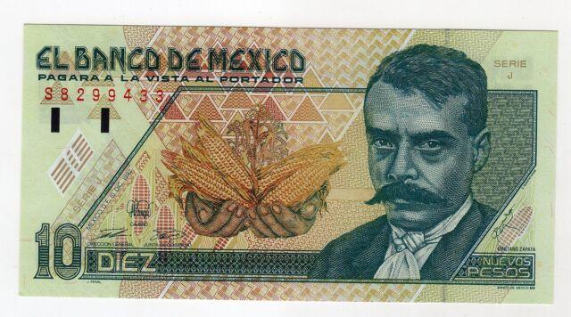 Mexico 10 Nuevos Pesos  10-12-92 Serie J Pick 99 UNC Uncirculated Banknote