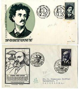 2-Sobres-primer-dia-sellos-Espana-1956-Fortuny-y-Torres-Quevedo