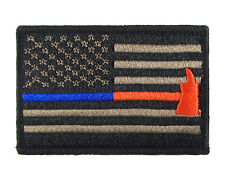 Blue & Red Thin Line Flag  Police Firefighter Hook & Loop Morale Tags Patch CB