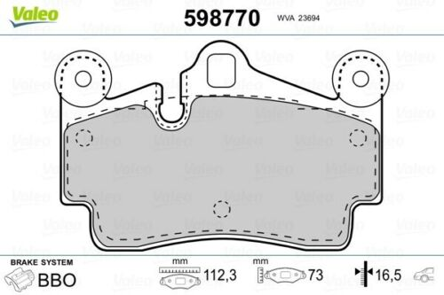 VALEOplaquette de frein arrière Porsche Cayenne scheibenbremsbelagsatz 598770