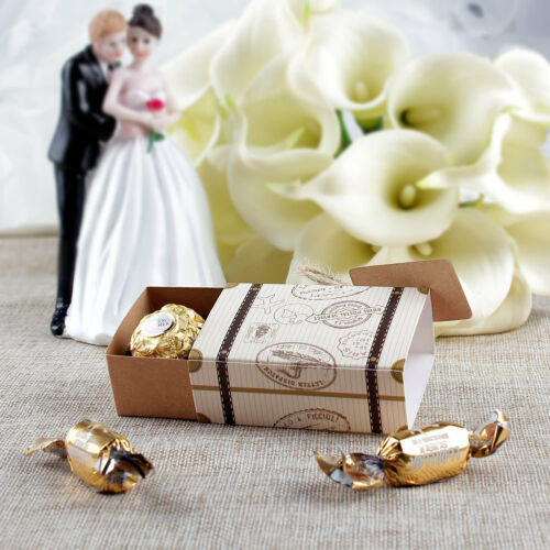 10//50PCS Wedding Favor Mini Suitcase Gift Box Kraft Candy Boxes Party Supply New