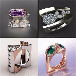 Creative-Geometry-Amethyst-Emerald-CZ-Ring-925Silver-Women-Wedding-Party-Jewelry