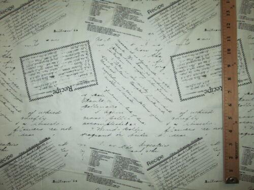 Recetas tarjetas de recetas de algodón blanco TELA FQ