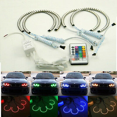 4pcs RGB Multi-Color LED Angel Eyes Halo Rings For BMW E30/E32/E34
