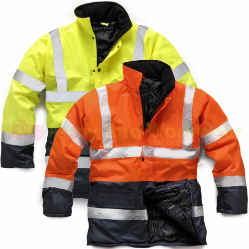 2 Tone Parka Hi Viz Waterproof Storm Work Padded Jacket Mens Warm Security Coat