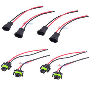 Details about 4 Pair H11 H8 Male Adapter Wiring Harness Socket Wire on