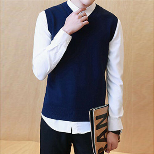 Sweater Vest Warm Solid Colors Wool V Neck Sleeveless Pullover Durable
