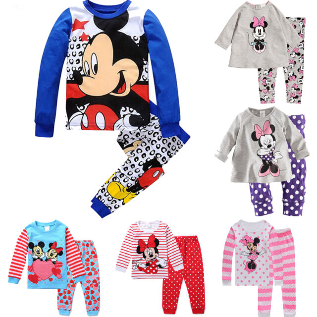 Kids Toddler Girls Boys Pyjamas Sleepwear Mickey Mouse Pajamas Nightwear Outfits