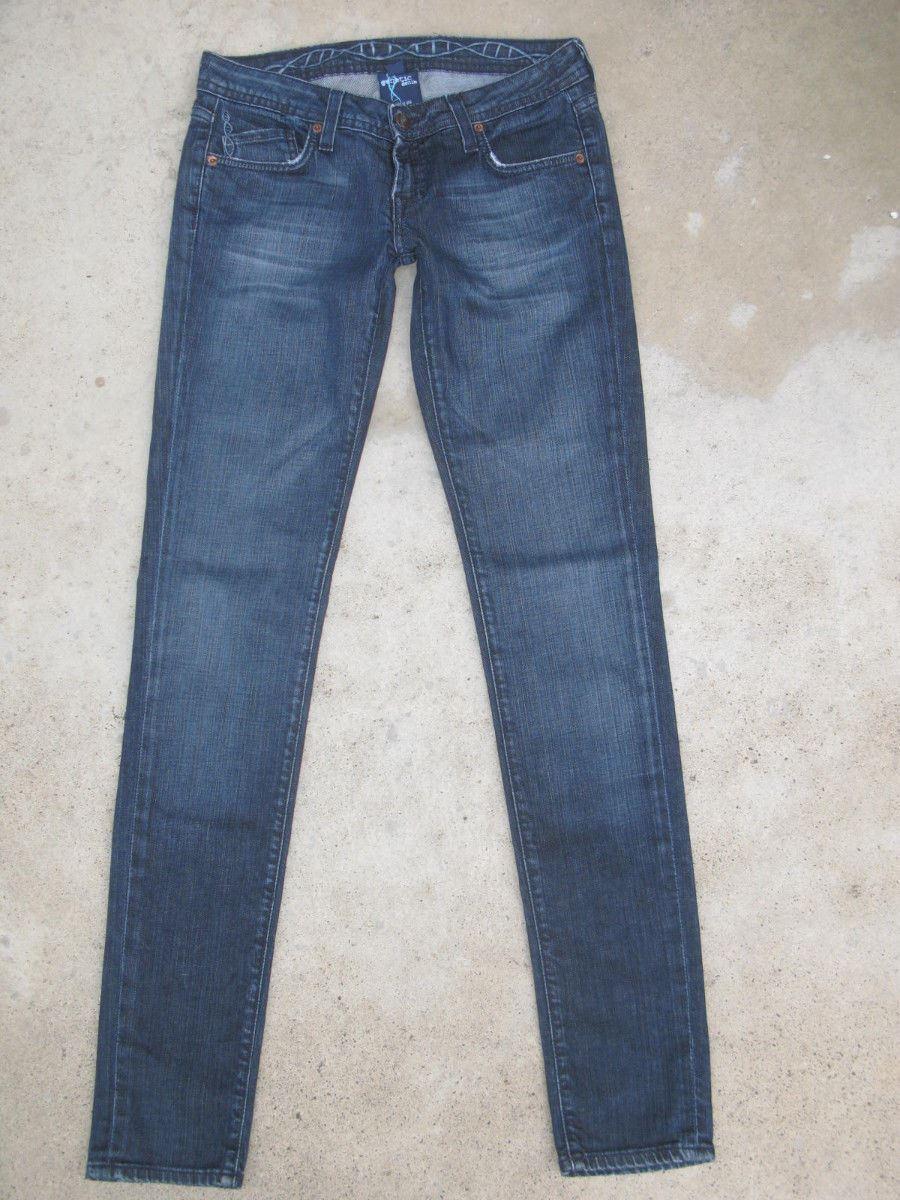 Genetic Skinny Jeans Womens Recessive Gene Sz 26 Dark Distressed Wash