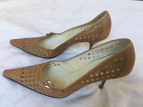 PRADA Pumps Shoes Vero Cuoio Square Toe 36.5 Musta