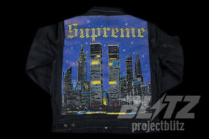 7d57cc366 Details about SUPREME NEW YORK PAINTED TRUCKER JACKET BLACK S M L XL SS19  2019 BUTTON UP BLUE