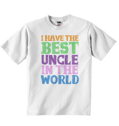 White New Personalised Baby T-shirt Tees I Have the Best Uncle in the World