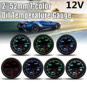 52mm 12V 7 Color LED Tinted Face Oil Temperature Gauge +1//8 NPT Temp Sensor Kit
